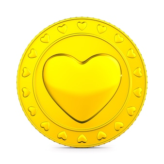 Coin with symbol heart on white background. isolated 3d illustration