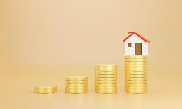 동전과 파스텔 배경으로 집. 집 구입을 위해 돈을 절약하십시오.
