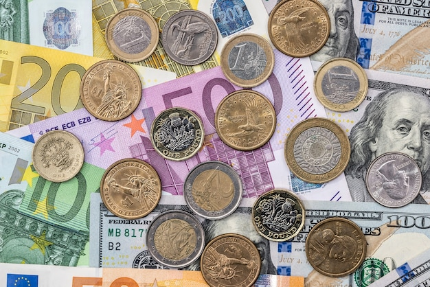 Coins are on euro and dollar denominations