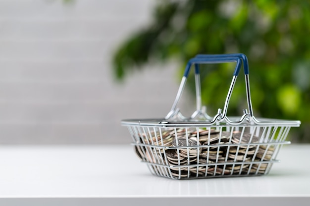 Coins in a basket.save money to be rich in the future.