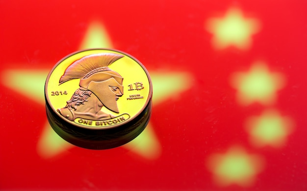 Coins bitcoin, against the background of the chinese flag