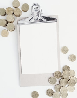Coins and clipboard