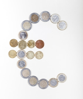 Coins creating the euro sign
