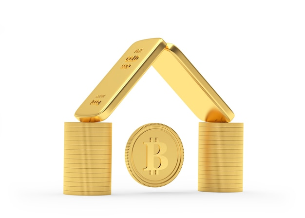 Coins and gold bars stacked like a house with a bitcoin coin