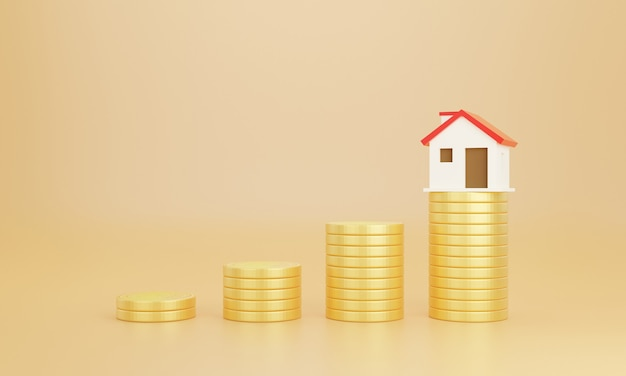 Coins and house with pastel background. save money business finance for buy home