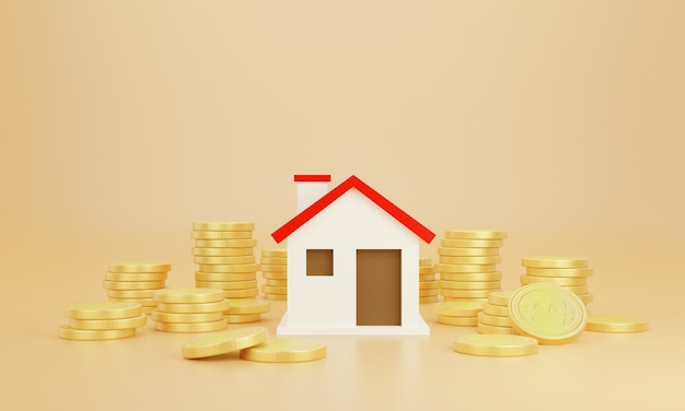 Coins and house with pastel background. save money business finance for buy home.