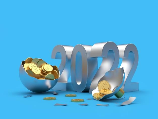 Монеты в серебряном сломанном новогоднем шаре с числами нового года