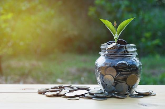 Монеты в банке. концепция финансирования бизнеса, учета и экономии инвестиций.