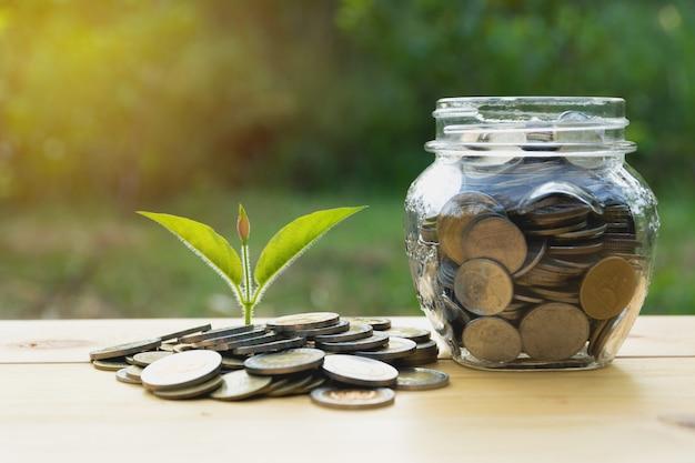 Монеты в банке с деньгами стека растут деньги