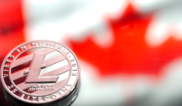 Coins litecoin, against the background of canada flag, concept of virtual money, close-up.
