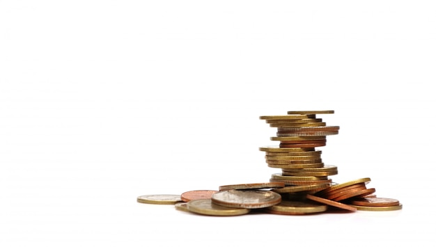 Coins stacked on each other in different positions