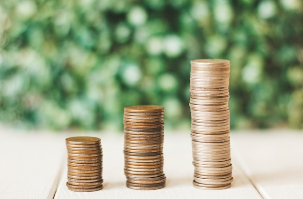 Coins stacked  finance growth