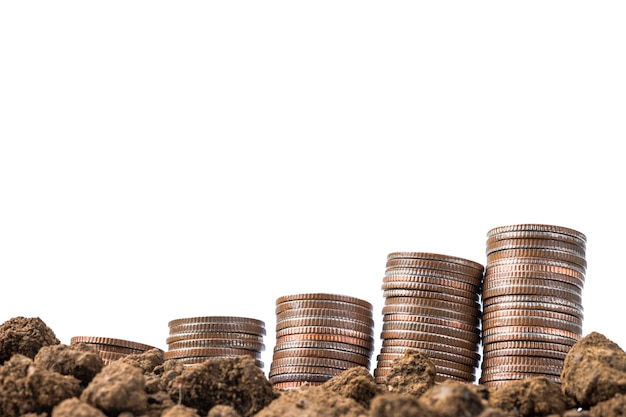 Coins stacking on soil with white background. isolated and saving concept.