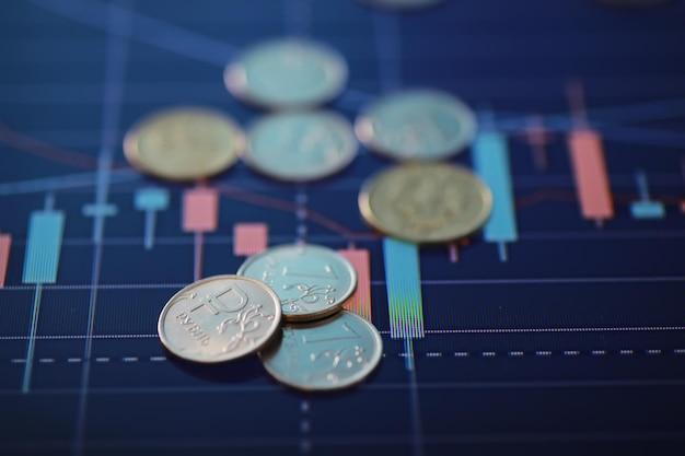 「ルーブル」と書かれたコイン。国の通貨のボラティリティ。ロシアのお金。為替相場。危機から抜け出す方法。