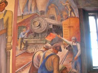 Coit mural workmen