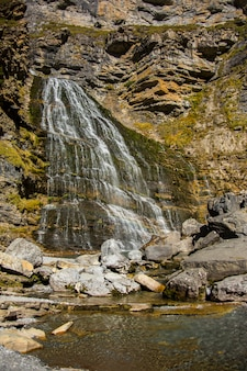 Cola de caballo waterfall in ordesa and monte perdido national park, spain