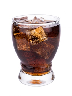 Cola in glass with ice cubes on white background