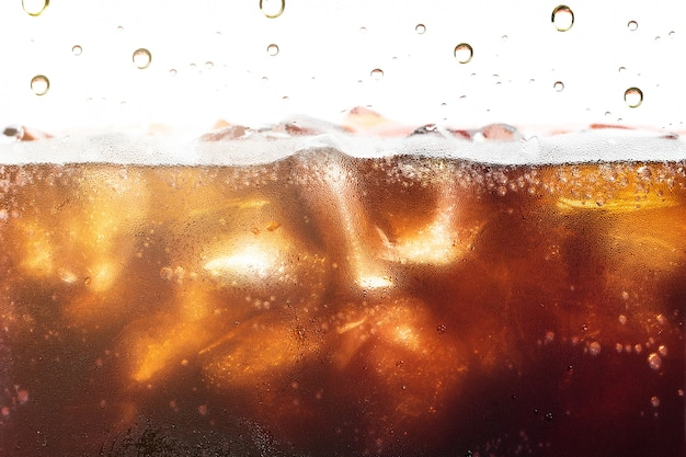Cola splashing background with soda bubble.