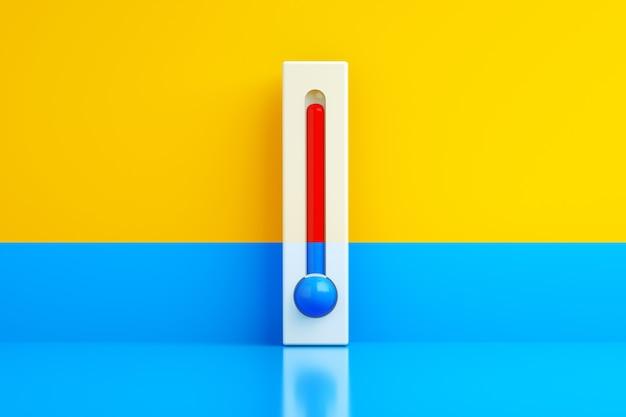 冷たくて暑い、黄青の背景に青と赤の温度計、3dレンダリング、コンセプト温度調節