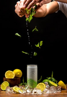 Cold beverage with mint and lemon