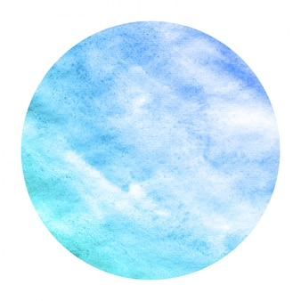 Cold blue hand drawn watercolor circular frame background texture with stains