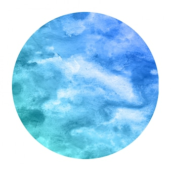 Cold blue hand drawn watercolor circular frame texture with stains