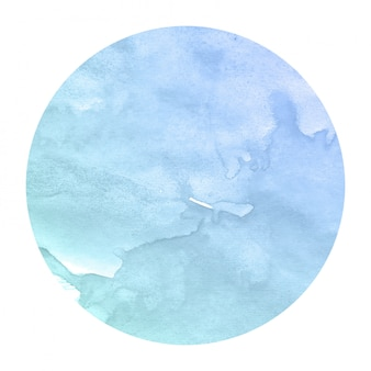 Cold blue hand drawn watercolor in circular frame