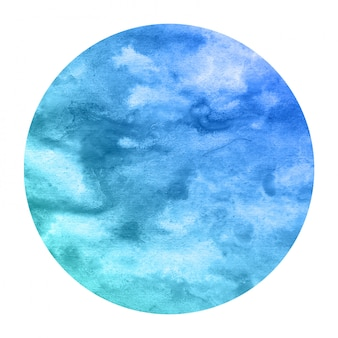 Cold blue hand drawn watercolor circular frame