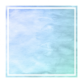 Cold blue hand drawn watercolor rectangular frame background texture with stains