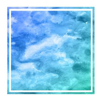 冷たい青手描き水彩長方形フレーム