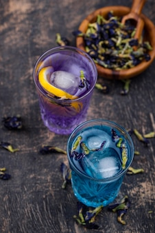 Cold blue and purple tea butterfly pea