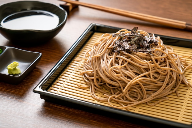 Cold buckwheat soba noodles or zaru ramen - japanese food style