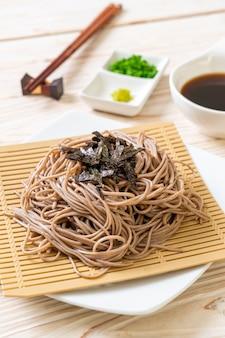 Cold buckwheat soba noodles or zaru ramen