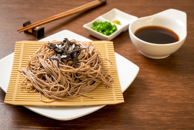 Cold buckwheat soba noodles