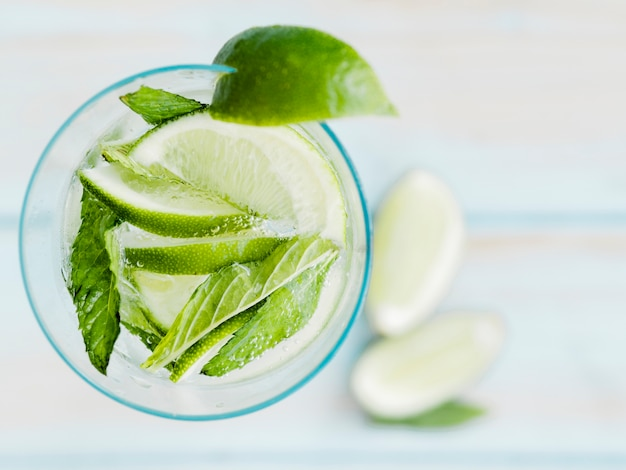 Cold cocktail with lime, mint and ice