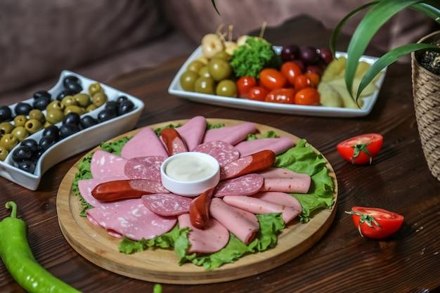 Колбасы и соленые колбаски ветчина оливки помидор огурец вид сбоку