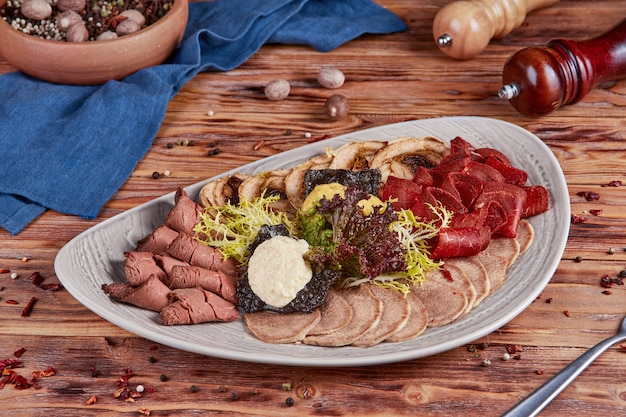 Cold cuts, appetizer, wooden
