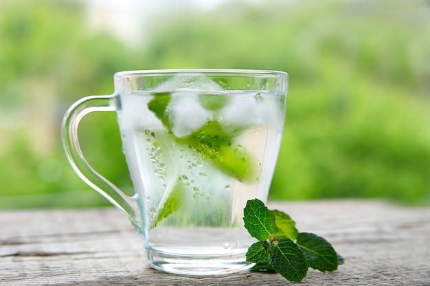 ガラスのミントと冷たい飲み物
