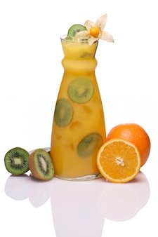 Cold drink with orange, physalis and kiwi
