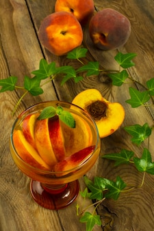 Cold drink with peaches