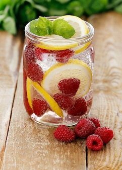 Cold drink with raspberries