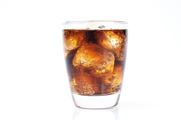 Cold drinking, soda with ice, glass of cola for hot and summer drink isolated