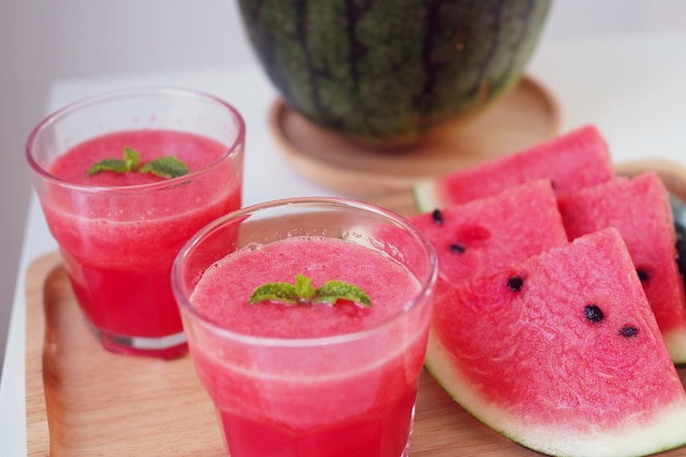 Cold and fresh watermelon smoothie. drink for summer and good health.
