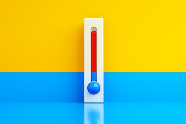 Cold and hot, blue and red thermometer over yellowblue background, 3d rendering, concept temperature regulation