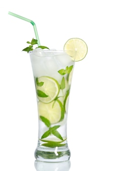 Cold iced lemonade with lemons and mint