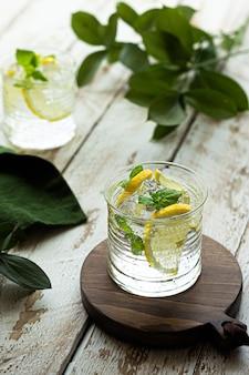 Холодный лимонад со льдом и мятой