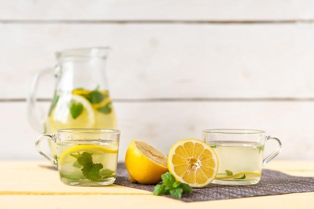 Холодный лимонад с дольками лимона и листьями мяты.
