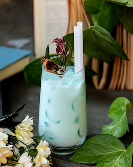 Cold milk and mint cocktail on the table