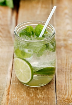 Cold mojito with a straw
