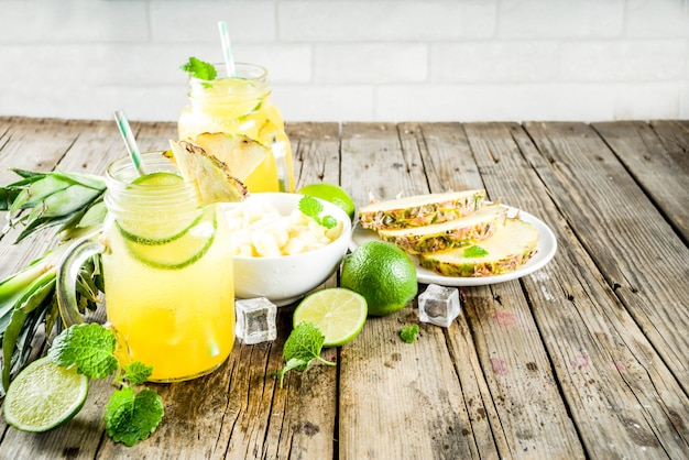 Cold pineapple mojito cocktail